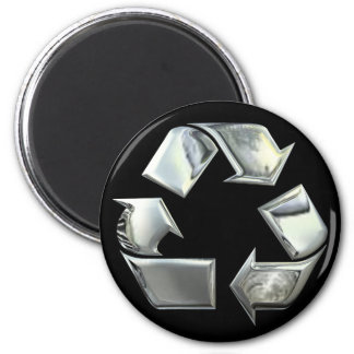 Silver Recycle Symbol Fridge Magnets