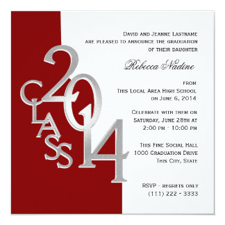 Silver Red 2014 Photo Graduation Invitation