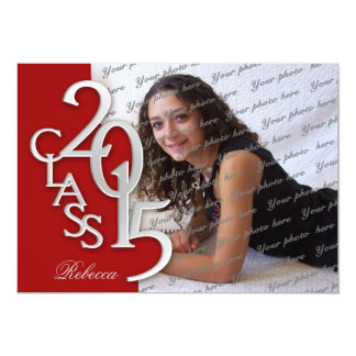 """Silver Red 2015 Photo Graduation Invitation 5"""" X 7"""" Invitation Card"""