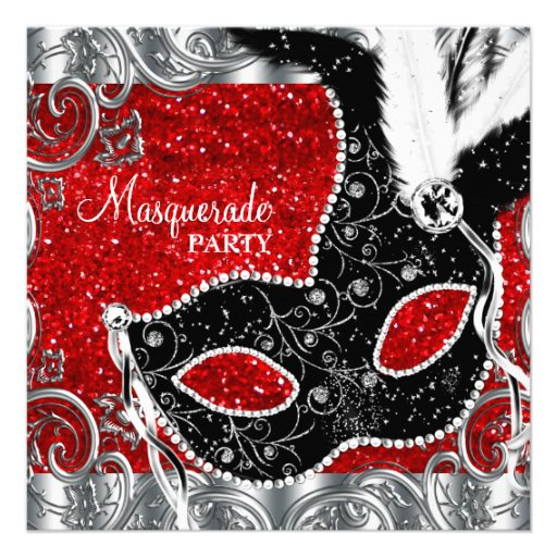 Silver Red and Black Mask Masquerade Party Custom Invitations