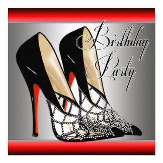 Silver Red Black High Heels Birthday Party Invitation