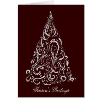 silver red christmas tree Christmas Card