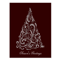silver red christmas tree Holiday PostCard