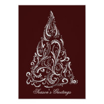 silver red christmas tree holidays card