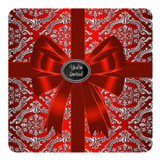 Silver Red Damask Corporate Christmas Party Card