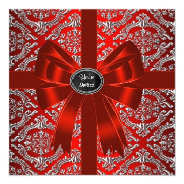 Christmas Themed Silver Red Damask Corporate Christmas Party Card
