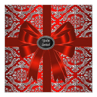 Silver Red Damask Corporate Christmas Party Card at Zazzle