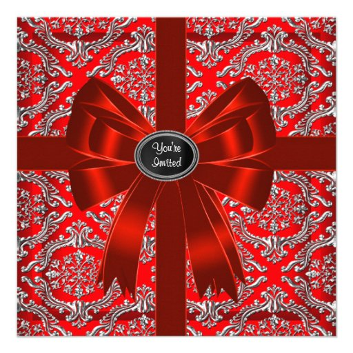 Silver Red Damask Corporate Christmas Party Personalized Invitation