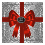 Silver Red Damask Corporate Christmas Party Custom Invites