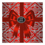 Silver Red Damask Corporate Christmas Party Announcement