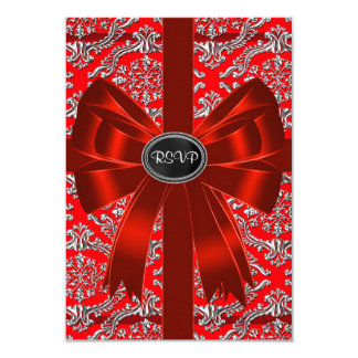Silver Red Damask Corporate Christmas Party RSVP 3.5x5 Paper Invitation Card