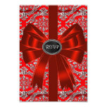 Silver Red Damask Corporate Christmas Party RSVP Invites