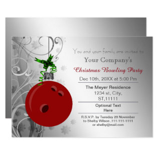 Silver Red Festive Corporate Bowling Party Invite at Zazzle