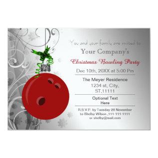 Silver Red Festive Corporate Bowling Party Invite at Zazzle