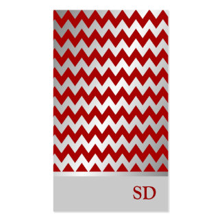 Silver Red Gradient Zigzag Chevron Pattern Business Cards