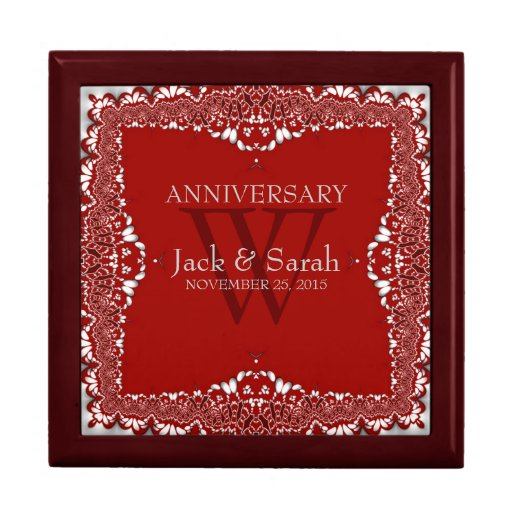 Silver Red Lace Wedding Anniversary Gift Box
