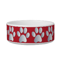 Silver red pawprints beautiful pet cat bowl, gift bowl