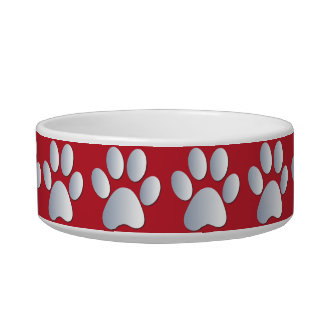 Silver red pawprints beautiful pet cat bowl, gift pet bowls