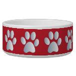 Silver red pawprints beautiful pet dog bowl, gift