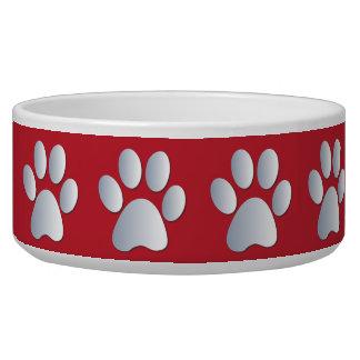 Silver red pawprints beautiful pet dog bowl, gift bowl