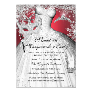 Silver Red Princess Masquerade Sweet 16 Invite