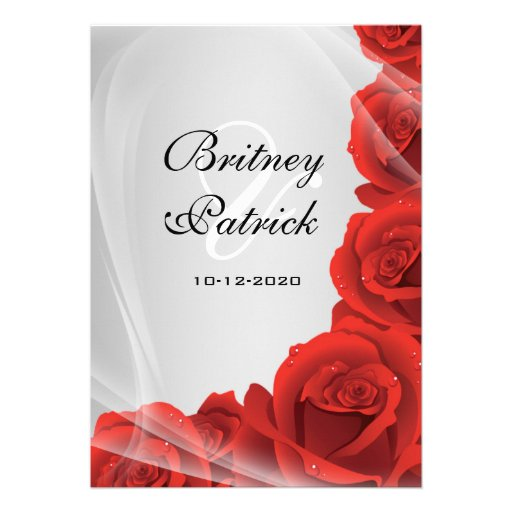 """Red And Silver Wedding Invitations: Silver & Red Rose Wedding Invitations 5"""" X 7"""" Invitation"""