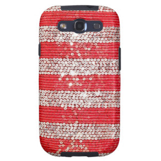 Silver & Red Sequin Samsung Galaxy S3 Vibe Case Galaxy SIII Case