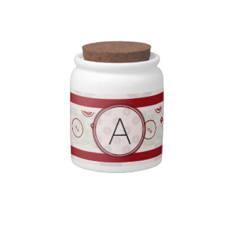 Silver Red Sewing Pattern with Monogram Candy Jars