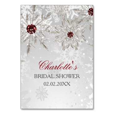 silver red snowflakes bridal shower bingo cards