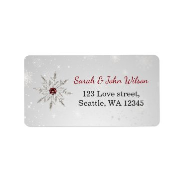 silver red snowflakes return address label