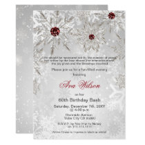 Silver Red Snowflakes Winter Birthday Party Card