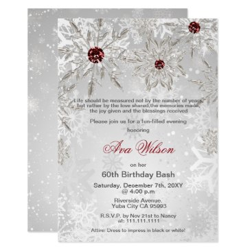 Silver red snowflakes winter birthday party invitation on www silver red snowflakes winter birthday party invitation filmwisefo