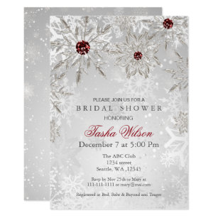 85d2368d166 Silver Red Snowflakes Winter Bridal Shower Invite