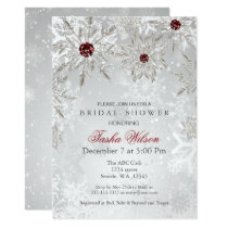 Silver Red Snowflakes Winter Bridal Shower Invite