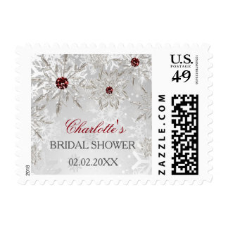 silver red snowflakes winter bridal shower stamps