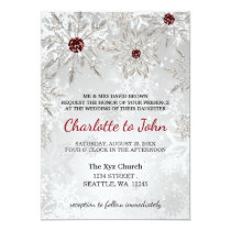 silver red snowflakes winter wedding invitation