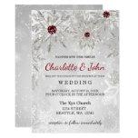 Silver Red Snowflakes Winter Wedding Invitation at Zazzle
