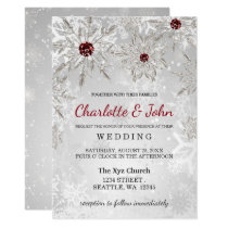 silver red snowflakes winter wedding invitation