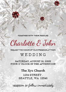 Winter wedding invitations wonderful for winter weddings zazzle silver red snowflakes winter wedding invitation filmwisefo