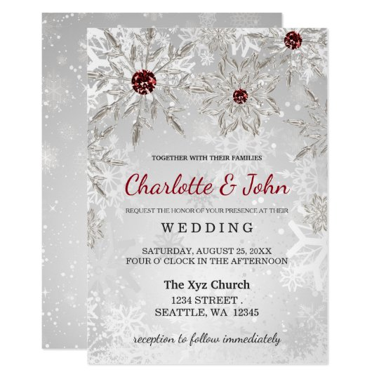 Christmas Wedding Invitations.Silver Red Snowflakes Winter Wedding Invitation