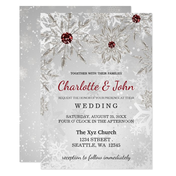 Silver Red Snowflakes Winter Wedding Invitation Zazzle Com