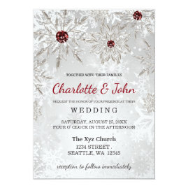 Red and Silver   Snowflakes Winter Wedding Invitations