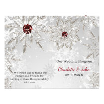 silver red snowflakes winter wedding program