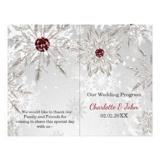 silver red snowflakes winter wedding program