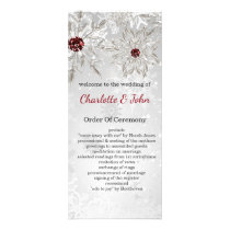 silver red snowflakes winter wedding programs