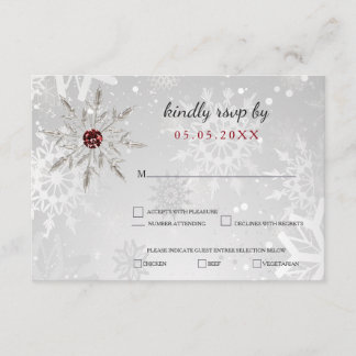 silver red snowflakes winter wedding rsvp