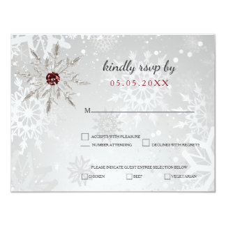 silver red snowflakes winter wedding rsvp card