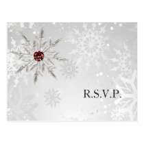 silver red snowflakes winter wedding rsvp postcard