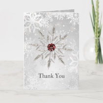 silver red snowflakes winter wedding Thank You