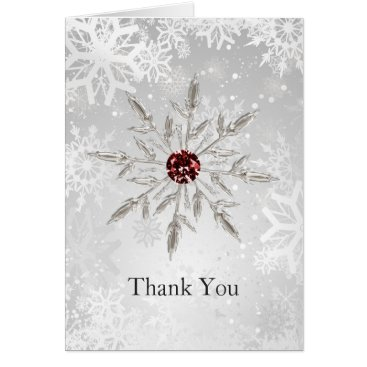 silver red snowflakes winter wedding Thank You Card